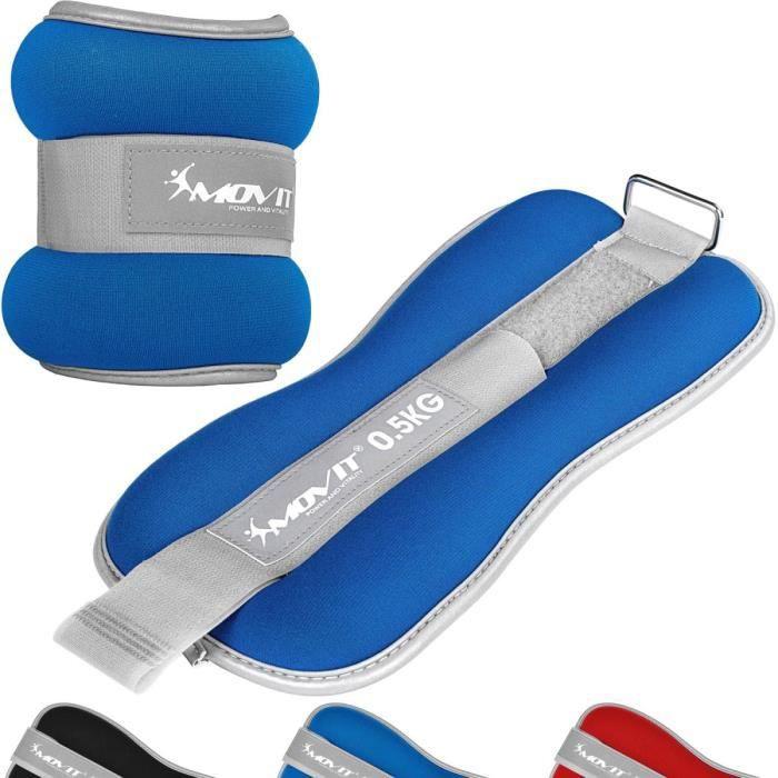 MOVIT Bandes lestées pour poignets et chevilles 2x0,5kg, néoprène bleu + tissu éponge