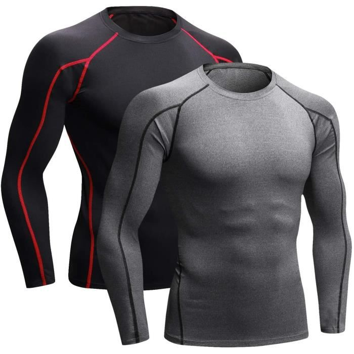 2 Pièces Tee Shirt Compression Homme Maillot Running Baselayer Manches Courtes Longues