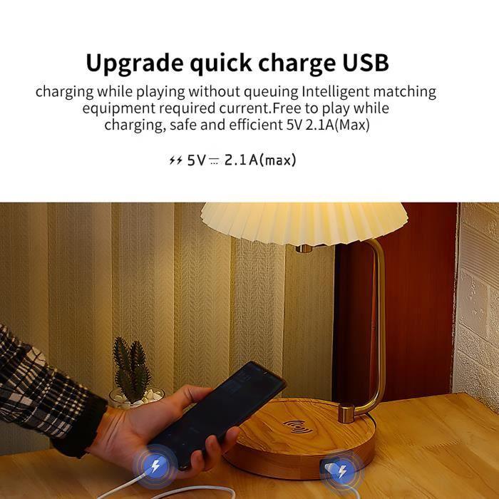 Veilleuse-Lampe de nuit Lampe de chevet LED Charge USB Base de chargement sans fil-Ventilateur plissé