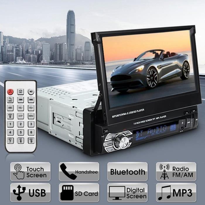 Podofo Autoradio Stéréo 7 Pouces HD Lecteur de Radio Bluetooth Support Télécommande Stéréo Mp5, MP4, USB, SD, AUX, FM, iPod, iPhone