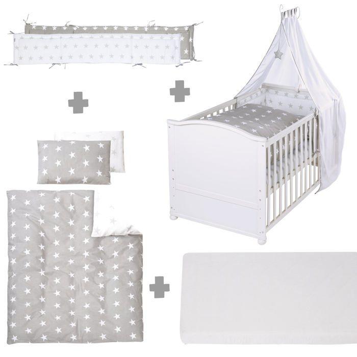 Lit bébé évolutif Little Star en bois blanc réglable en hauteur + matelas et accessoires