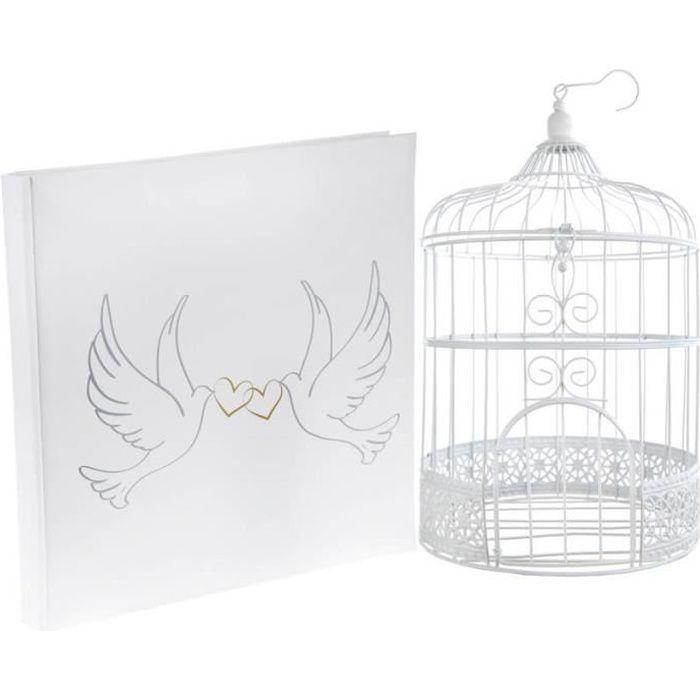 1 Pack urne cage et livre d'or mariage colombes REF/3871-4490