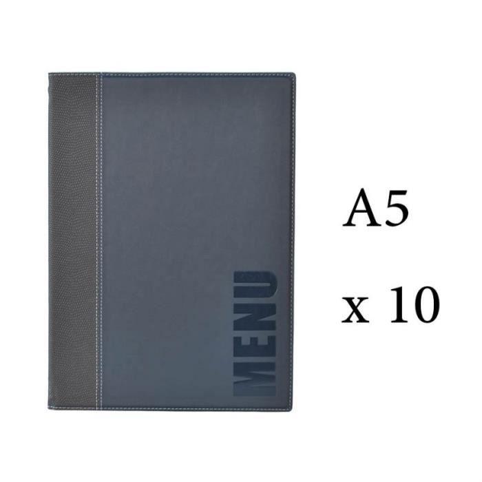 Lot 10 protège-menu Tendance format A5 couleur bleu - Porte menu hôtel restaurant - Securit 6 + 2 (14 vues totales) Similicuir