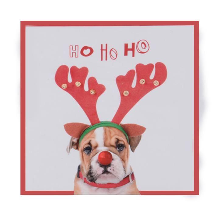 Serviettes en papier de Noël jetables «Ho Ho Ho» - Bouledogue avec oreilles de renne - Paquet de 20 feuilles de TRIXES