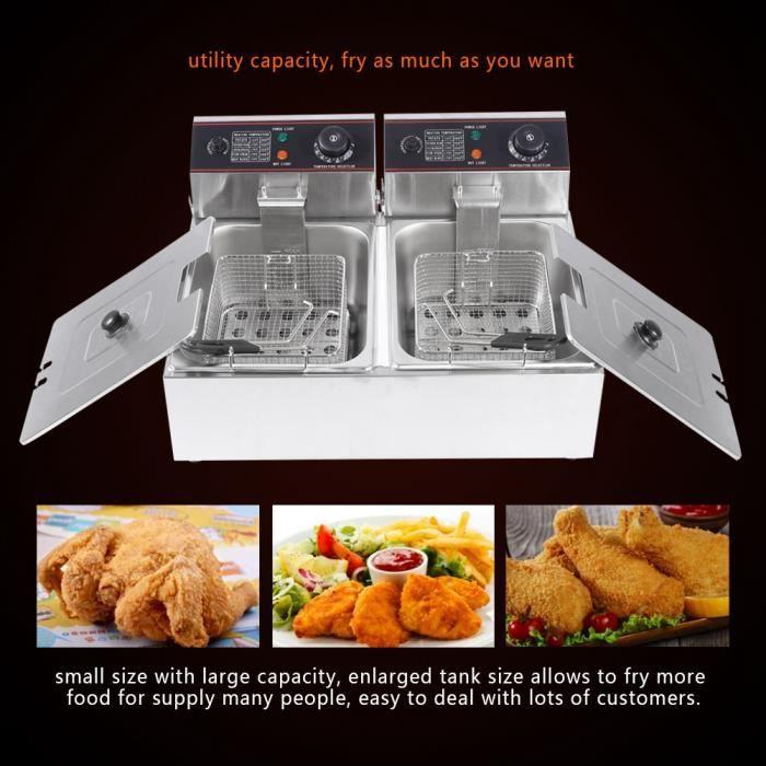 VGEBY® friteuse électrique cuve amovible inox doubles thermostats 12L Family Fryer -ABI