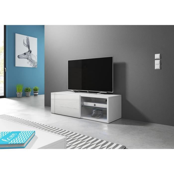 VIVALDI Meuble TV - HIT 2 - 100 cm - blanc mat / blanc brillant sans LED - style design