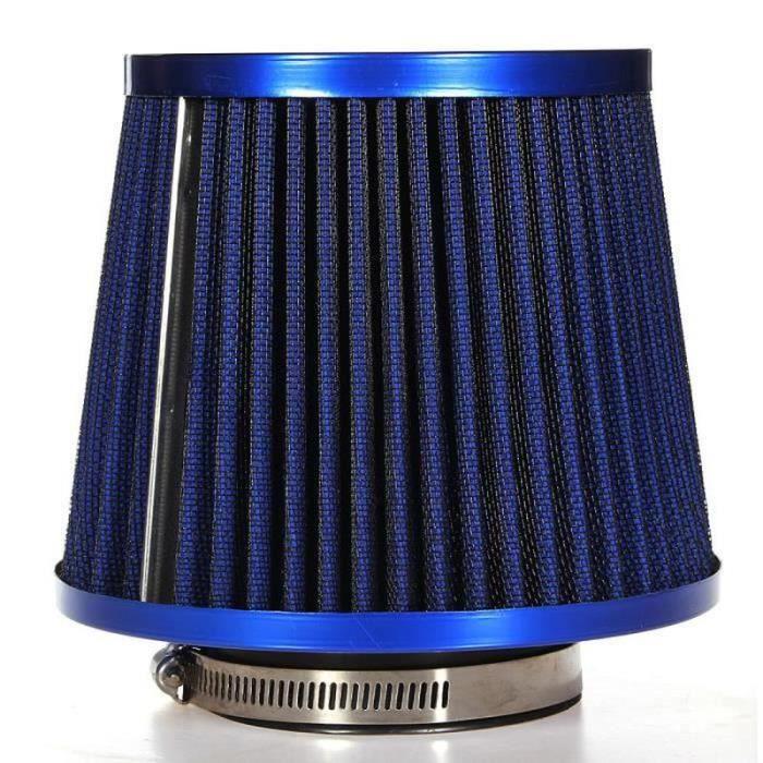 QQ38183-Universel Filtre Air D'admission Carbone Cône Direct Dynamique Sport 76mm Auto Bleu