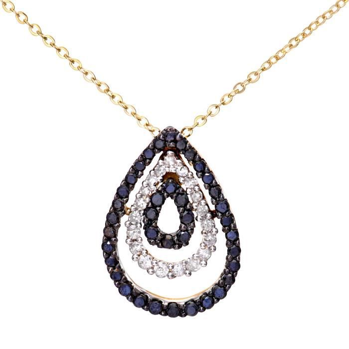 Set Black Diamond Teardrop or jaune Pave Pendentif et collier de chaîneZ8P0R
