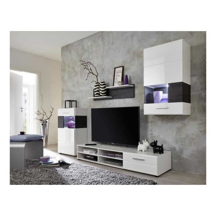 Meuble tv mural blanc brillant led polo 10 achat for Meuble living blanc