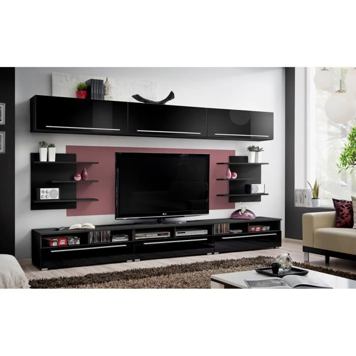Meuble de salon tv cristo complet design laqu achat vente meuble tv meub - Salon complet design ...
