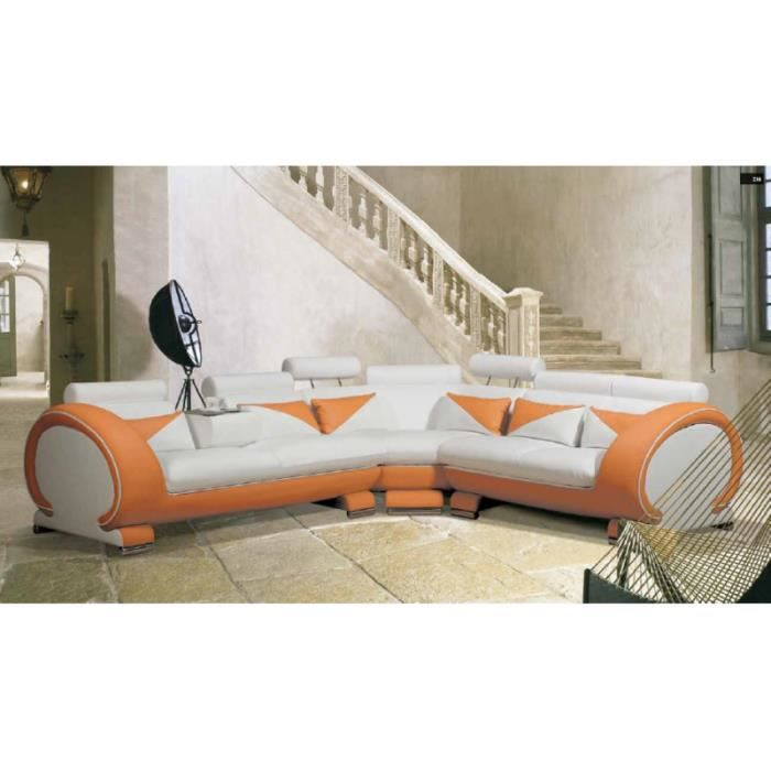 canap d 39 angle design orange et blanc cuir achat vente canap sofa. Black Bedroom Furniture Sets. Home Design Ideas