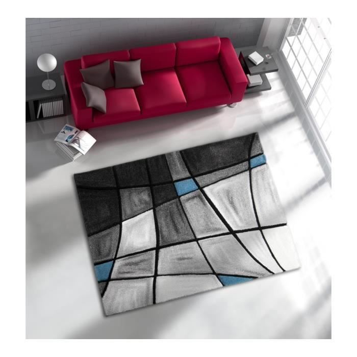 allotapis tapis de salon avec effet 3d gris et bleu chic. Black Bedroom Furniture Sets. Home Design Ideas