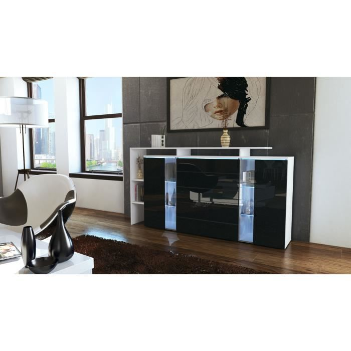 buffet commode blanc et noir m tallique avec vitri achat. Black Bedroom Furniture Sets. Home Design Ideas