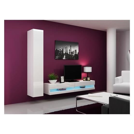 ensemble meuble tv design maroa blanc achat vente. Black Bedroom Furniture Sets. Home Design Ideas