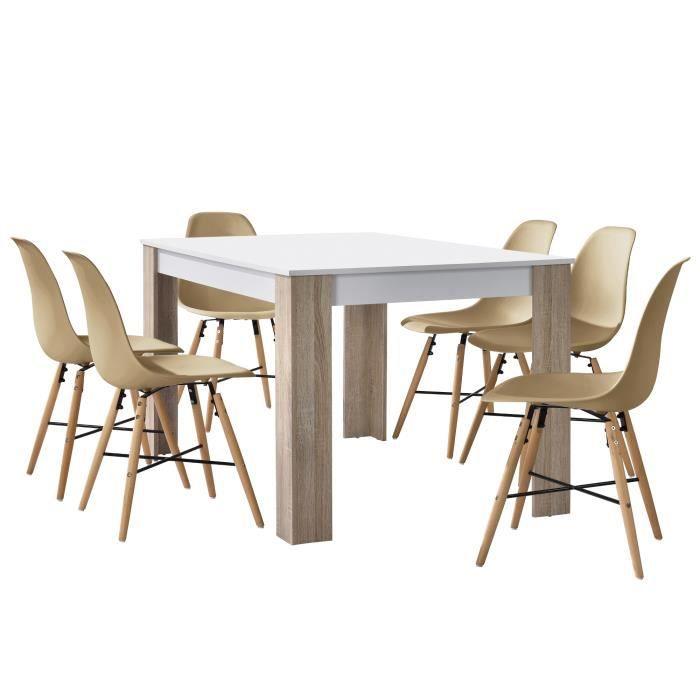 casa En avec table chaises blanc à 6 manger chêne ZTOPikXu