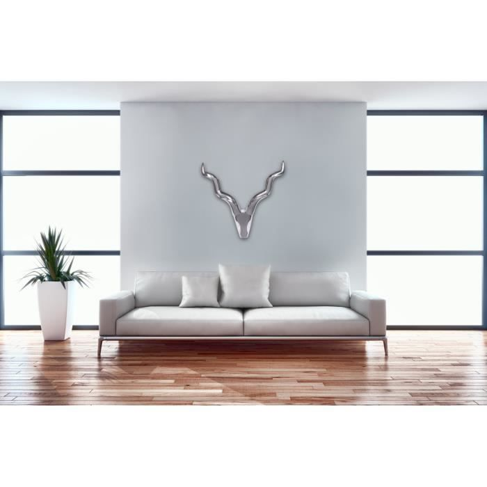 d co murale t te de taureau alu achat vente objet. Black Bedroom Furniture Sets. Home Design Ideas