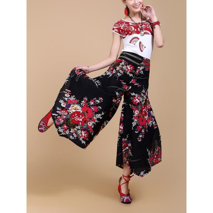 PANTALON Pantalon large jambes Noir femme OL vintage lin fl