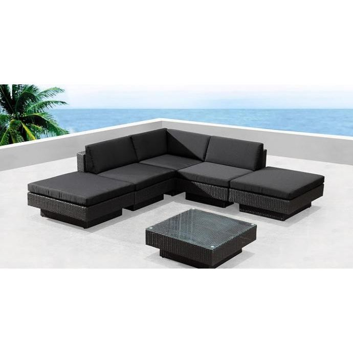 amorgos noir salon de jardin en r sine tress e achat vente salon de jardin amorgos noir. Black Bedroom Furniture Sets. Home Design Ideas