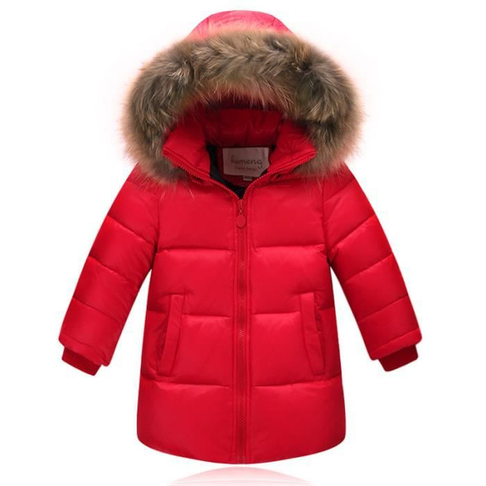 parka enfant fille gar on capuche fourrure doud rouge achat vente parka cdiscount. Black Bedroom Furniture Sets. Home Design Ideas