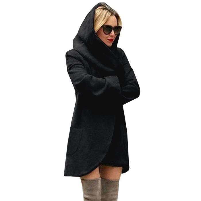 Veste à Capuche Femme Feutre Manteau Automne