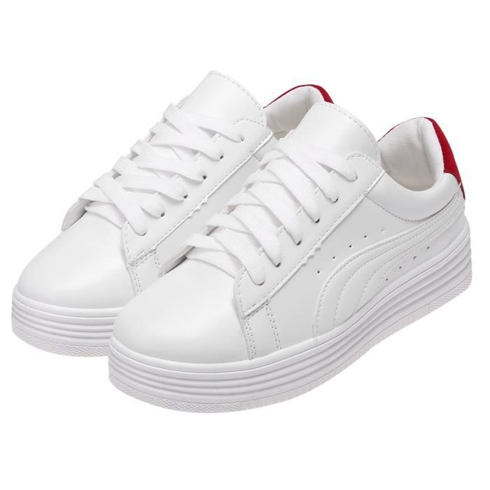 0e5742cefdbe0 Baskets sneakers chaussures sport femme Cuir PU blanc ROUGE - Achat ...