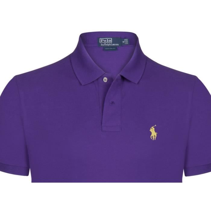 cd0aaa2f26858 Ralph Lauren Homme Polo Custom Fit Violet Violet - Achat   Vente ...