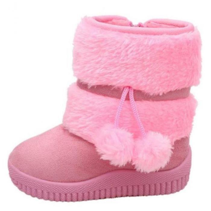 Hiver Bottes Enfants En Peluche Chaussures Filles Garçon Bottines FXG XZ095Rose24