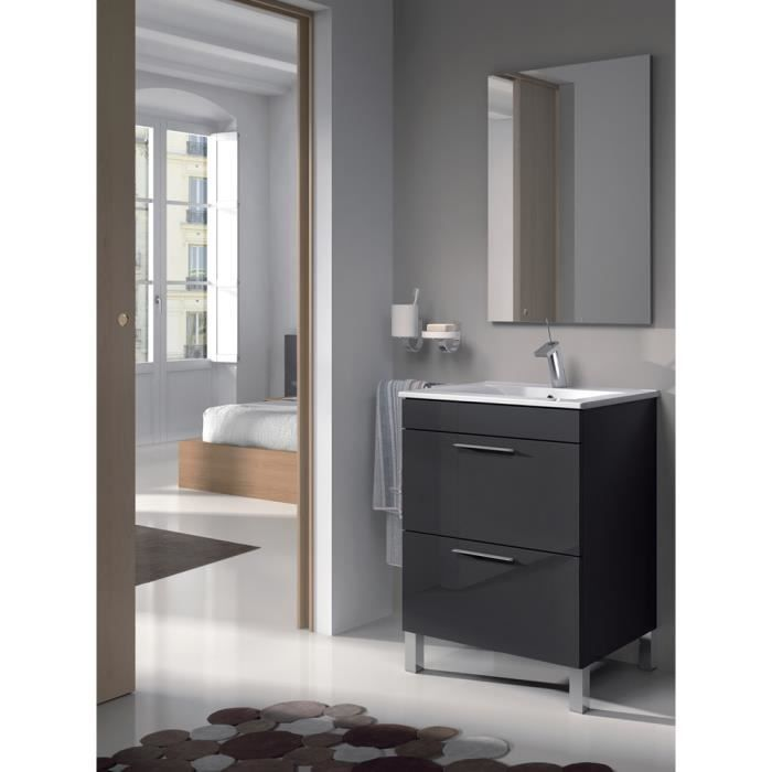 set de meuble sous lavabo avec 1 porte anthracite lavabo blanc miroir colonne 2 portes. Black Bedroom Furniture Sets. Home Design Ideas