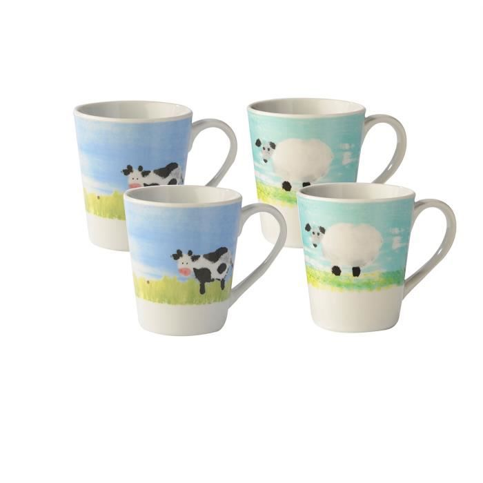 set de 4 tasses en porcelaine th caf animaux de ferme id e cadeau achat vente service. Black Bedroom Furniture Sets. Home Design Ideas