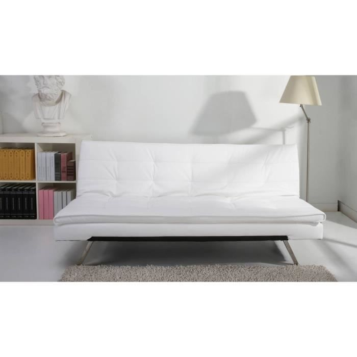 banquette clic clac blanc 3 places celia achat vente. Black Bedroom Furniture Sets. Home Design Ideas