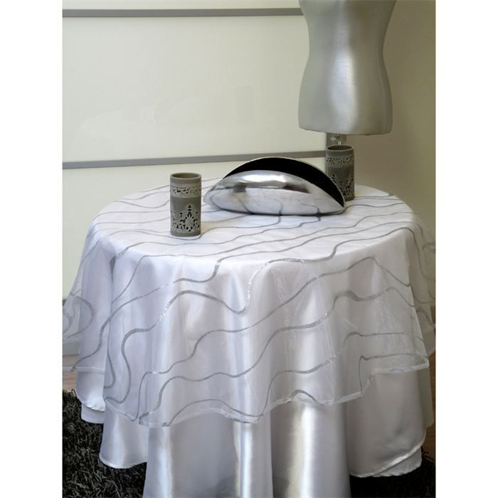 nappe ronde 140 cm tiffanys blanc achat vente nappe de table cdiscount. Black Bedroom Furniture Sets. Home Design Ideas