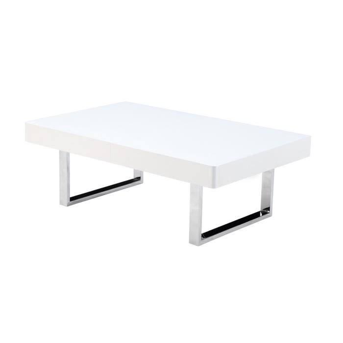 Table basse swithome moon blanche chrome achat vente for Table basse et haute a la fois