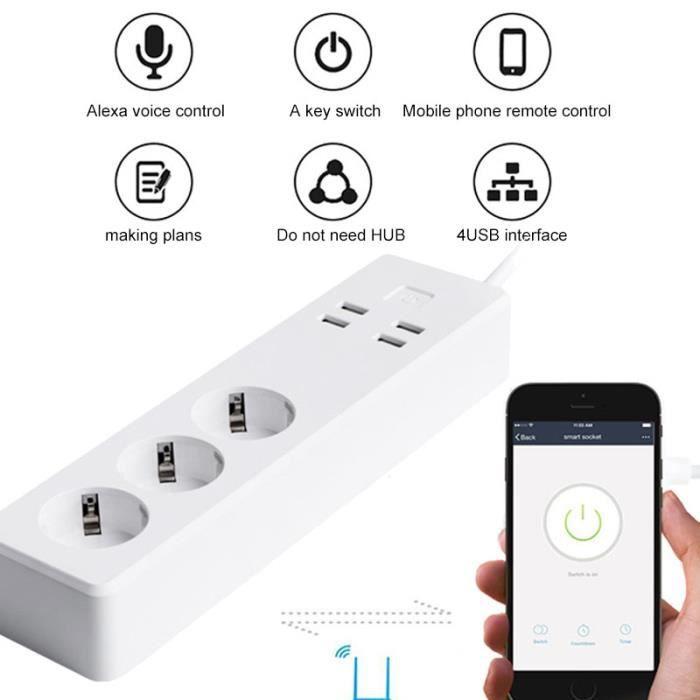 Wifi Multiprise Intelligente 3 Sortie Intelligente EU et 4 Ports USB Compatible avec  Alexa Google Home pour Smartphone multiprise, blanc