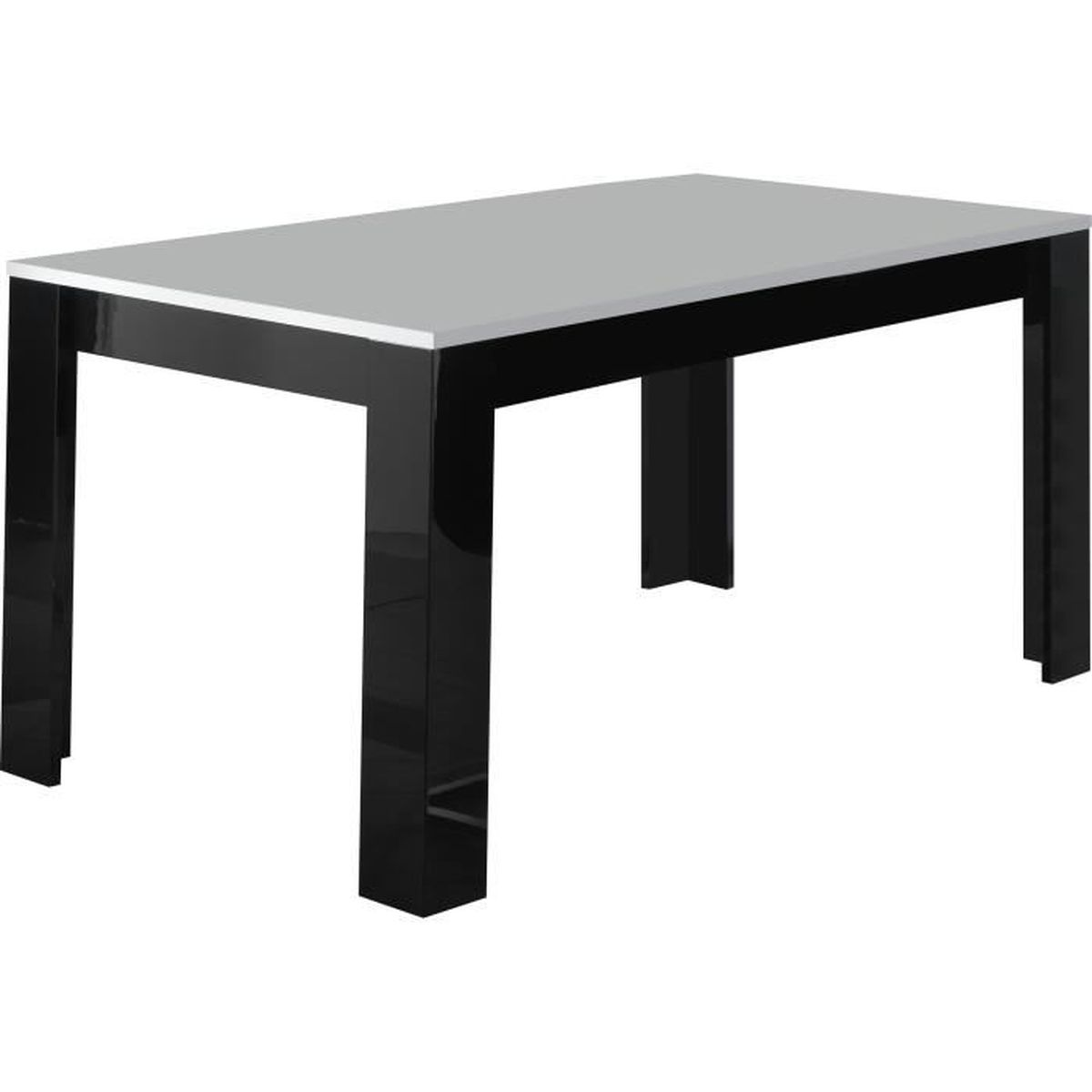 Table manger laqu e brillante de 160cm coloris noir et for Table haute a manger