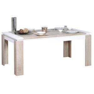TABLE À MANGER SEULE Table extensible couleur chêne et blanc moderne FA