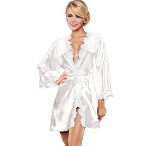 PYJAMA Lingerie Sexy Robe Robe manches 3/4 dentelle Pa...