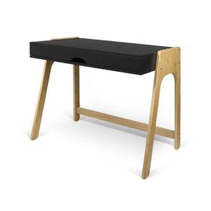 TABLE BASSE Bureau plateau relevable Noir/Chêne massif - HONGK