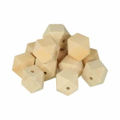Perles bois polygone 20x27mm 8 pièces - Artémio Marron