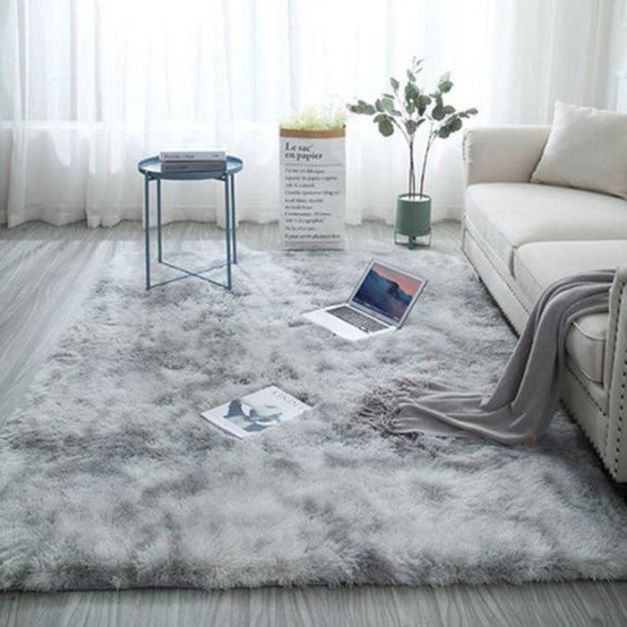 Tapis de salon - 160 x 200 cm - Gris lait - Poils courts