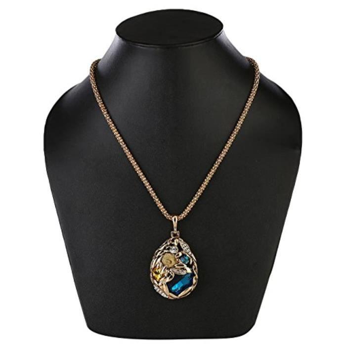 Chaine De Cou Vendue Seule TTD87 Pendentif collier goutte rose en cristal bleu avec chaîne dorée f