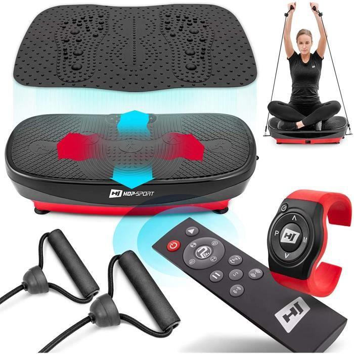 Hop-Sport Plateforme Vibrante Fitness HS-080VS Nexus Pro 3D avec Tapis de Massage et 2 Moteurs, Télécommande, Montre – Perte de Poid