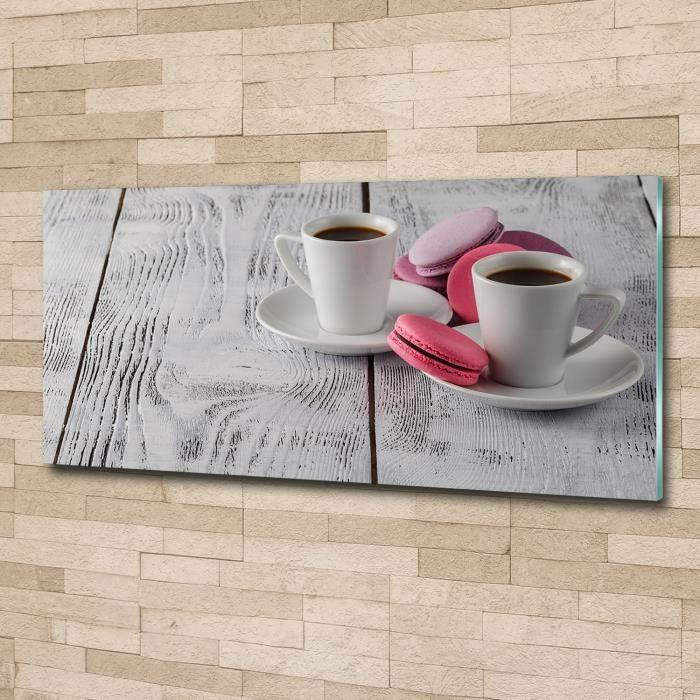 Tulup 125x50cm Tableau sur verre acrylique- Nourriture boissons - Café Biscuits - Rose