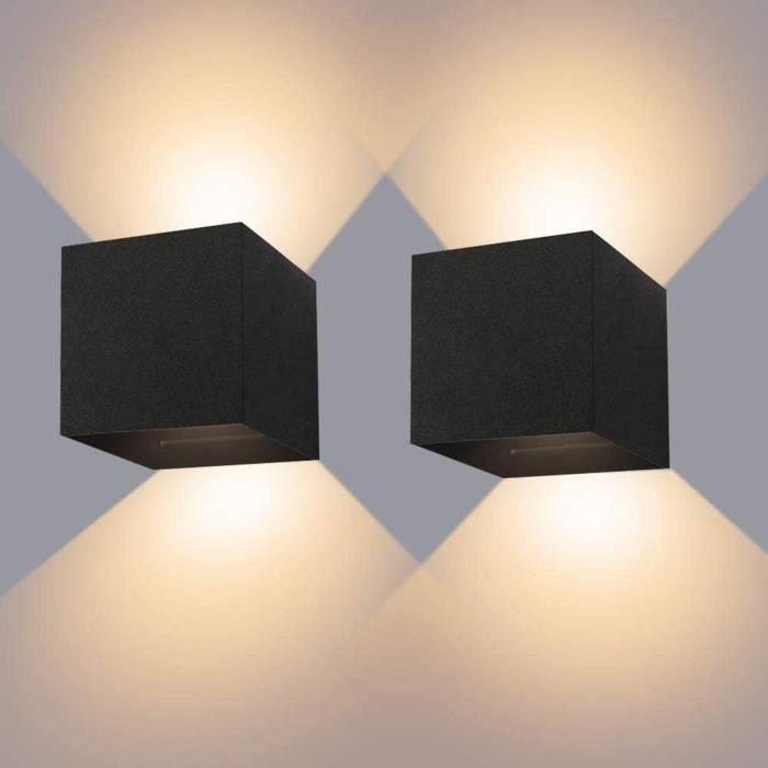 Applique Murale Interieur-Exterieur 12W* 2 Lampes Murales Noires LED Etanches IP65 Réglable Lampe Lumière orientable Haut et Bas