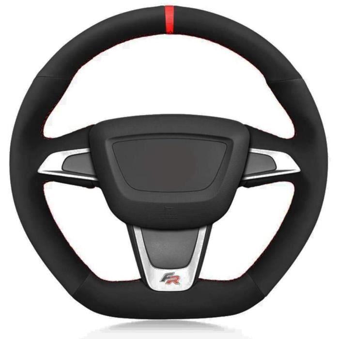 Couvre Volant de Voiture Noir Doux, pour Seat Ibiza (6J) (FR) 2012-2015 Ibiza (6J) (Cupra) 2012-2015 MII FR 2013-2020