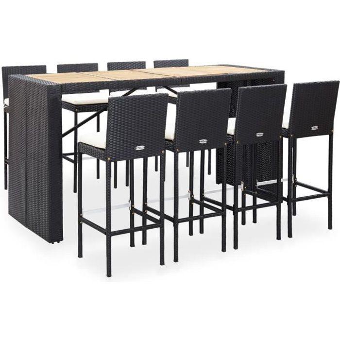 Salon de jardin Ensemble de bar de jardin 1 Table + 8 Tabouret de bar - Résine tressée &Bois d'acacia Noir - Avec 8 coussins