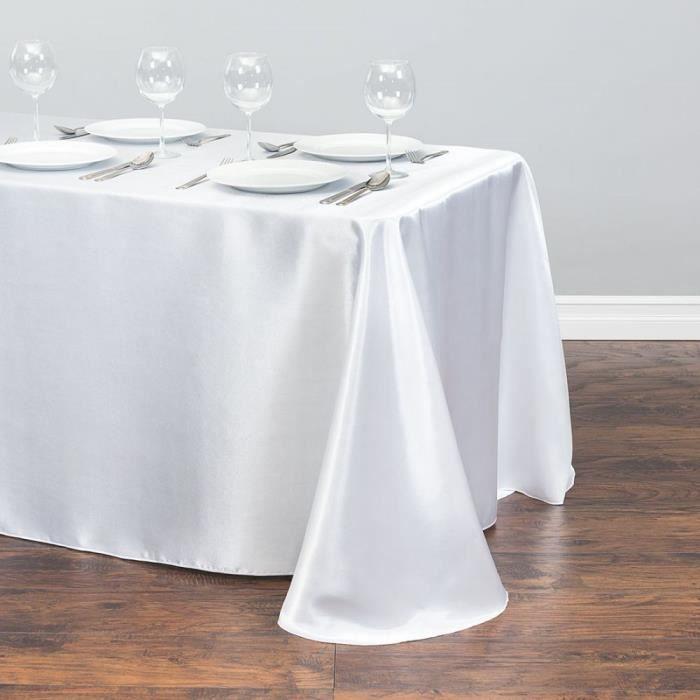 Nappe blanche nappe en Polyester nappe rectangulaire en Satin nappe pour anniversaire noël décoration de fête à la maiso EX2798