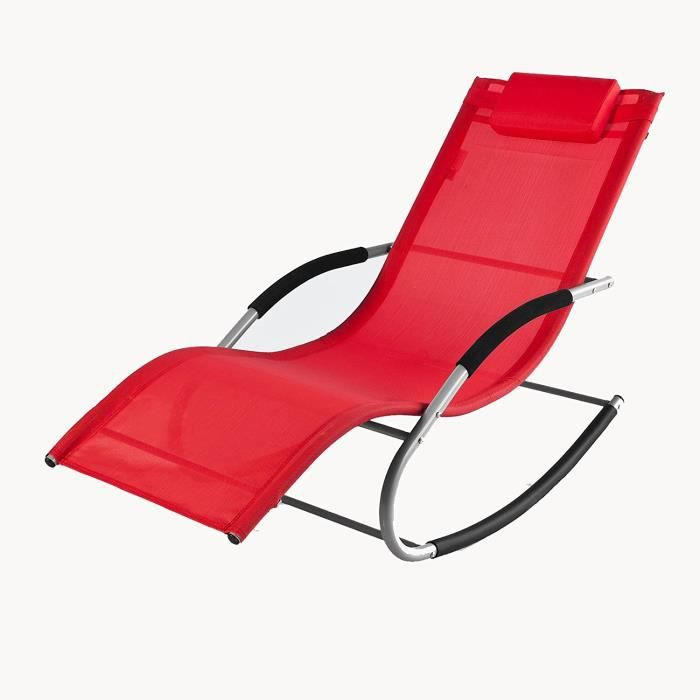 Transat a bascule rocking chair rouge jardin