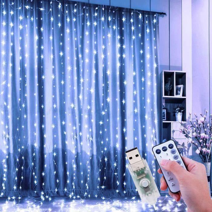 Guirlande Lumineuse Rideau Blanc 3M x 3M 300-LED Rideau Guirlande Lumineuse de Noël Jardin Mariage Décor - 8 Modes D'éclairage