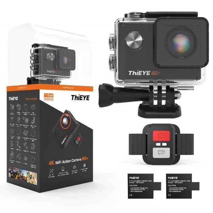 Camera Sport ThiEYE i60+ Caméra Sport 4K WiFi 20MP 170 ° Grand-Angle Action Camera Caméscope 60M Etanche 2.0 '' LCD HD Ecran 2.4G