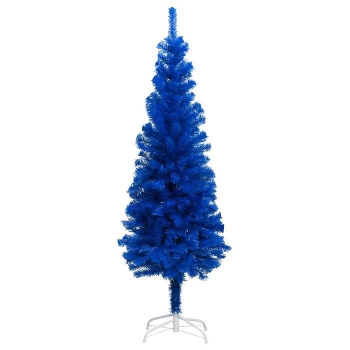 Sapin de Noël artificiel avec support Bleu 150 cm PVC -PAI